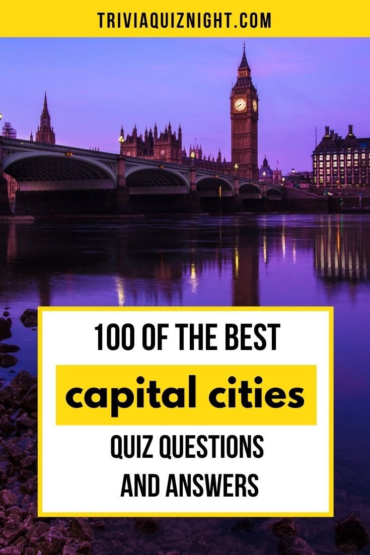 100 of the best quiz questions and answers about capital cities of the world, perfect for a pub quiz on Zoom, House Party, Skype and more!