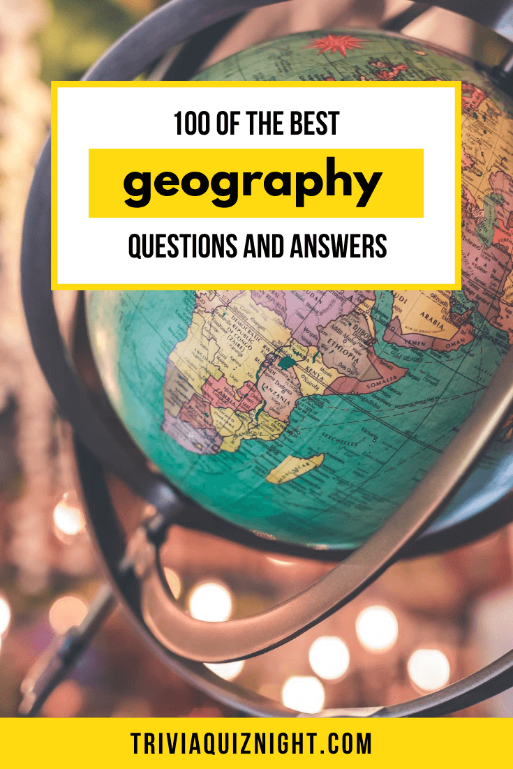 Looking to run a geography quiz questions? We've put together this epic list of 100 of the best geography quiz questions and answers for your Zoom, Skype or House Party quiz night! #trivia #questions #quiz